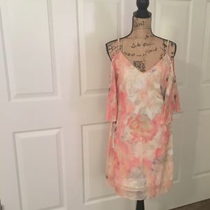 WHBM COLD SHOULDER PLEAT SLEAVE WATERCOLOR DRESS